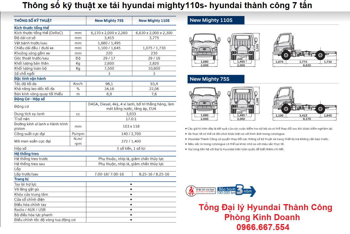 Thông số kỹ thuật xe tải hyundai thành công 7 tấn mighty110s